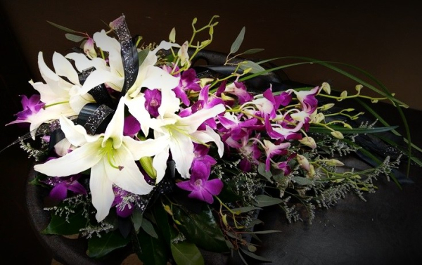 Purple orchid and Oriental lilies